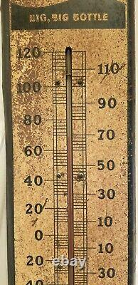 Vtg LARGE 1940s PEPSI COLA Soda Metal Tin Sign Thermometer 27 X 8 Rusty Gold