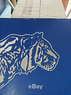 Vtg Metal Tin Esso Exxon Mobil Gas Oil Station Metal Sign Panel w Tiger Graphic