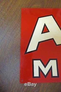 Vtg Original 36 X 12 AMALIE MOTOR OIL Tin Sign Stout Sign Company
