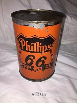 Vtg Phillips 66 Orange and Black Early Logo 1QT Tin Motor Oil Can GC Empty Rare