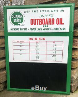 Vtg Quaker State Duplex Outboard Motor Oil Sign Chalkboard Mixing Ratio Tin Sign