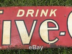 Vtg Rare 1930s Drink FIVE-O Soda Pop Tin Advertising Sign Double Sided 28 x 12