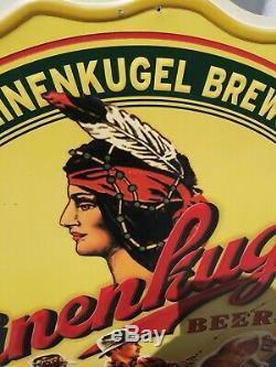 Vtg Rare Leinenkugel's Large Tin Beer Sign 35.5x40 Fishing In Boat On Lake