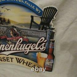 Vtg Rare Leinenkugel's Large Tin Beer Sign Night Fishing On Boat Lake NORTHWOODS
