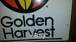 Vtg Tin Sign GOLDEN HARVEST Seed Corn Iowa Farm ORIGINAL shipping included NICE