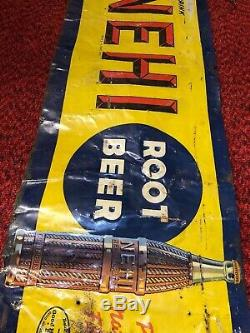 Vtg early Nehi Root Beer Soda drink Nehi Bottle Ad Tin Sign 30x12 as-is sale