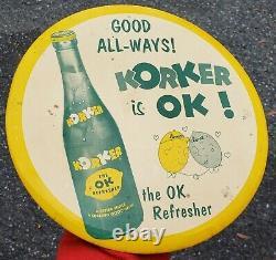 WoW Korker Lemon Lime Soda Metal Tin Advertising Sign VTG Bar Bottle Drink Old
